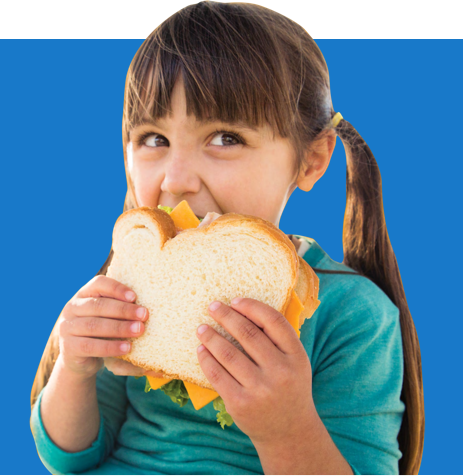 Little girl eating a sandwich