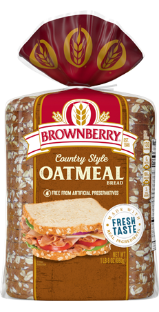 Brownberry Country Style Oatmeal Bread 24oz Packaging