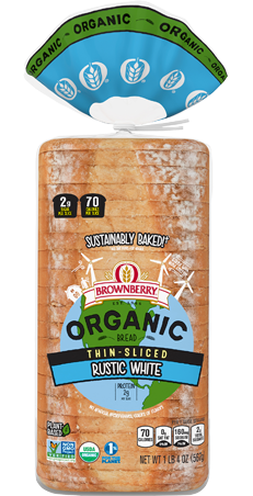 Brownberry Organic Thin Sliced Rustic White Bread Package Image
