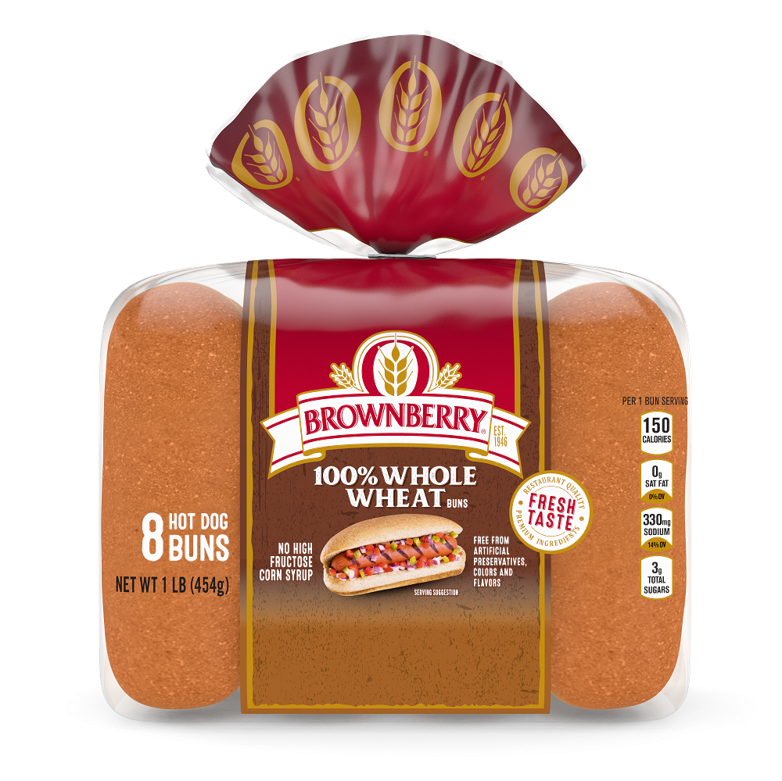 Brownberry 100% Whole Wheat Hot Dog Buns Package
