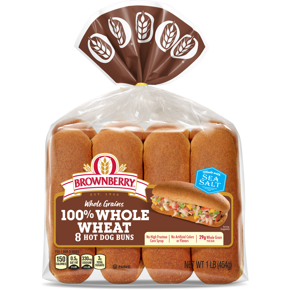 Brownberry 100% Whole Wheat Hot Dog Buns Package Image