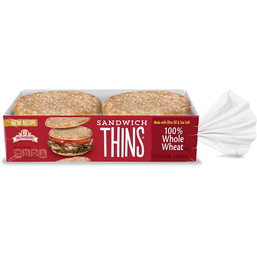Brownberry Sandwich Thins 100% Whole Wheat Package Image