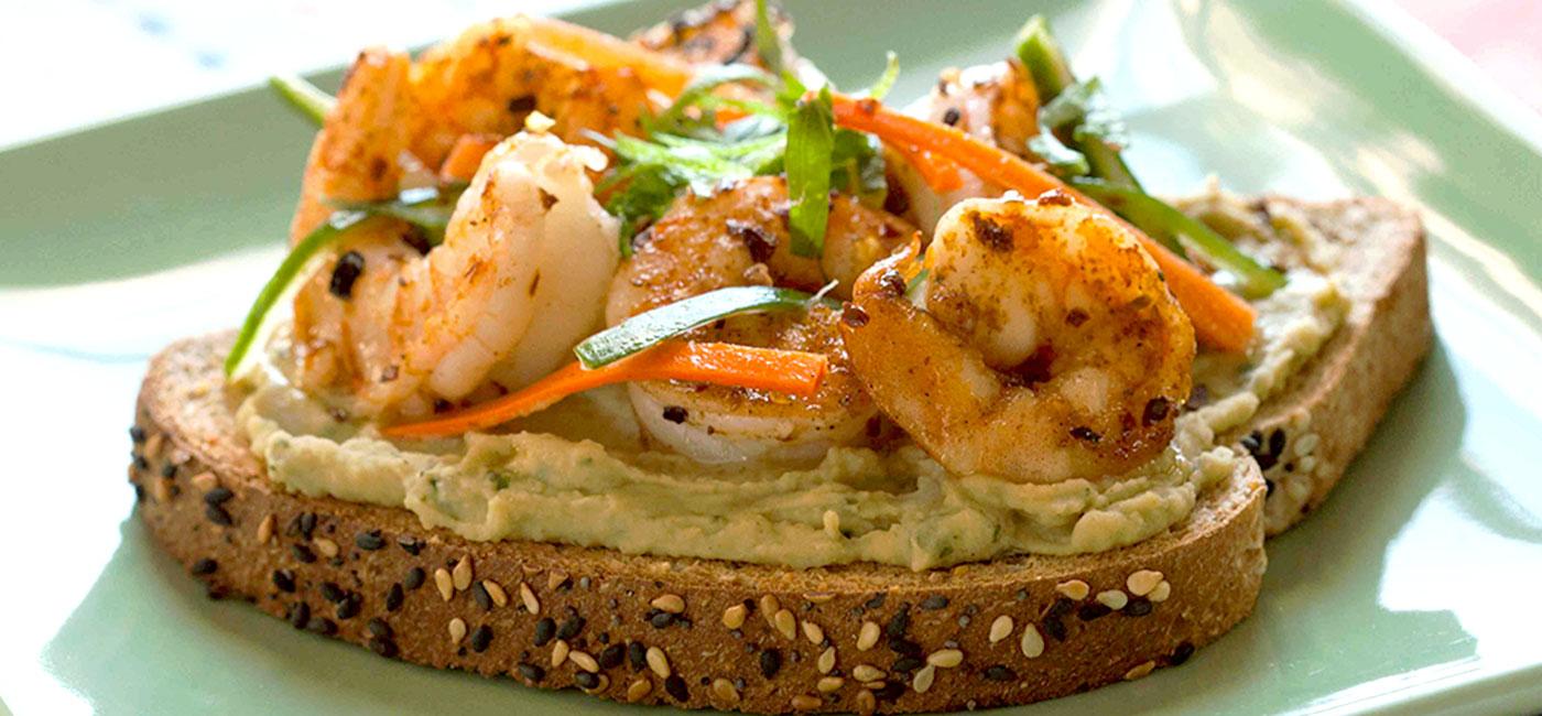 Confetti Shrimp Toast With Bean Basil Pâté Recipe Image