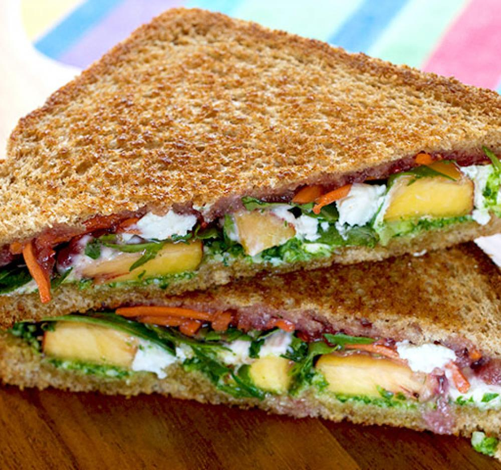 Summer Peach and Arugula Panini Recipe Image