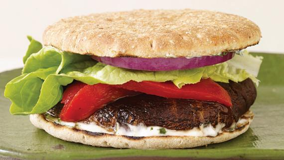 Grilled Portobello Burger with Basil Mayo recipe image