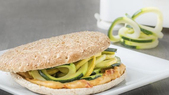Spiralized Squash & Hummus Sandwich Recipe Image