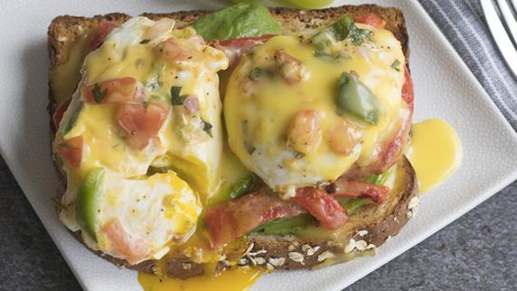 Red Pepper & Avocado Eggs Benedict Recipe Image