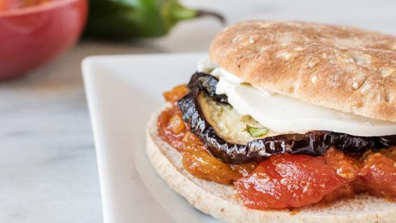 Marinated Eggplant with Tomato Relish, Mozzarella & Herbs - Recipe Image