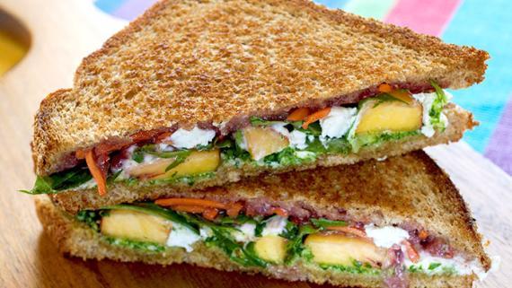 Summer Peach and Arugula Panini Recipe Image
