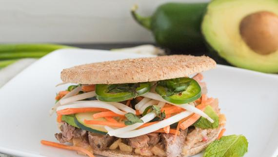 """Last Night's Grilled Flank Steak with Plum Sauce """"Banh Mi"""" Style Sandwiches Recipe Image"""