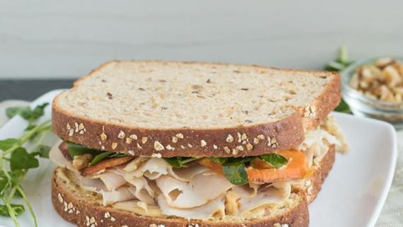 Orange Kissed Turkey, Sweet Potato and Watercress Salad Sammie Recipe Image