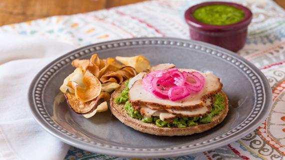 Turkey, Peas and Pesto Sandwich Thins Toast Recipe Image