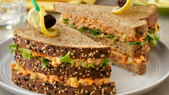 Mediterranean Sesame Ginger Salmon Steak Sandwich recipe image
