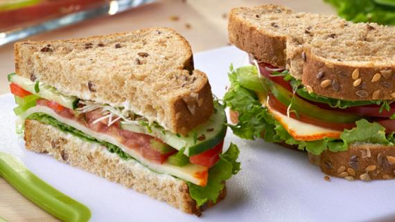 Nutritious Sprouts, Pepper and Muenster Sandwich - Recipe Image