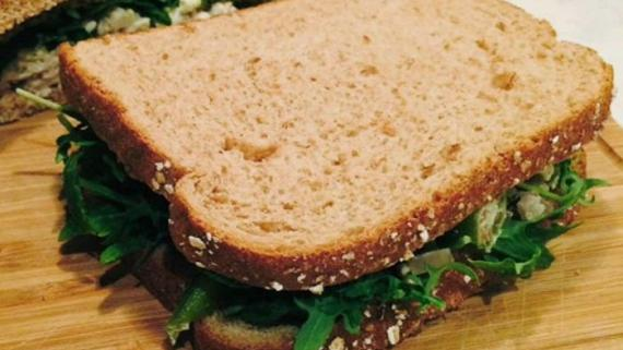 Roasted Okra and Kale Curried Chicken Salad Sandwich Recipe Image