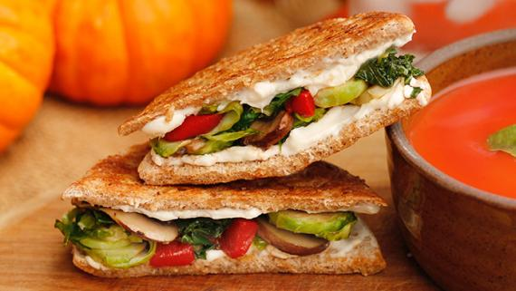 Grilled Cheese Sandwiches with Roasted Vegetables Recipe Image