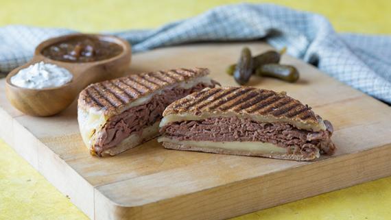 California French Dippin with Fontina, Yogurt-Horseradish and Caramelized Onion Jus Recipe Image